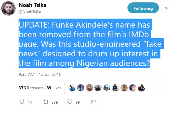 "Funke Akindele Name Removed From Cast of ""Avengers: Infinity"